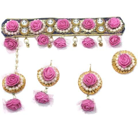 Gotta Patti Necklace Set with Mangtikka, Earrings and Ring Pink