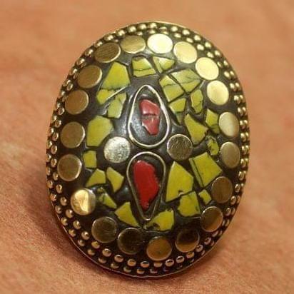 Tibetan Ring Multi color Oval