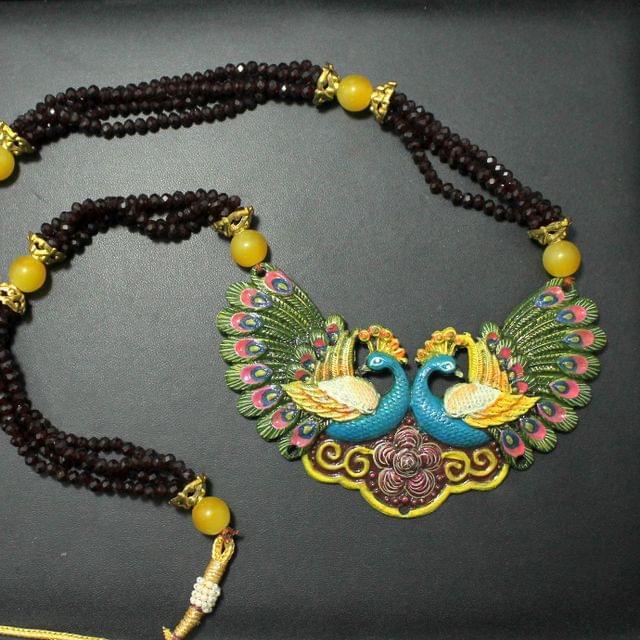 Beaded Peacock Pendants Necklace Set Maroon