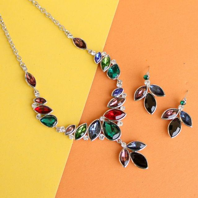 Multicolour Austrian Stone Necklace Set