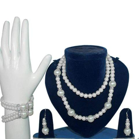 Beadsnfashion White Pearls 2 Tried Necklace, Bracelet With Earring Combo Set