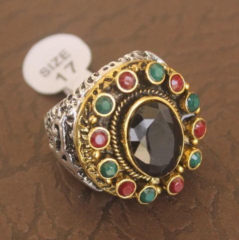 Victorian Finger Ring Multicolor, Size 17