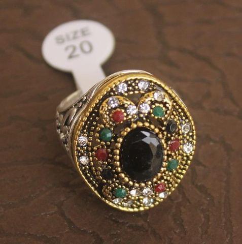 Victorian Finger Ring Multicolor, Size 20