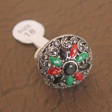 Victorian Finger Ring Multicolor, Size 18