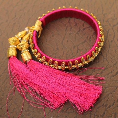 Designer Kundan Silk thread Adjustable Bracelet With Latkan Magenta