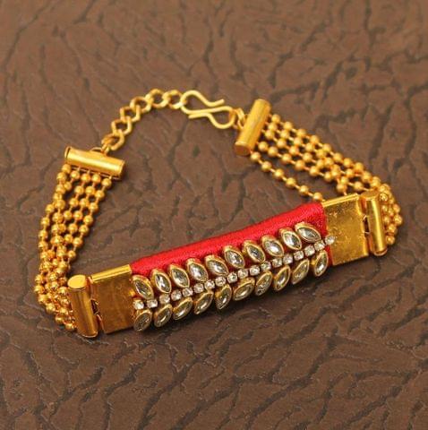 Kundan Silk thread Adjustable Bracelet Red