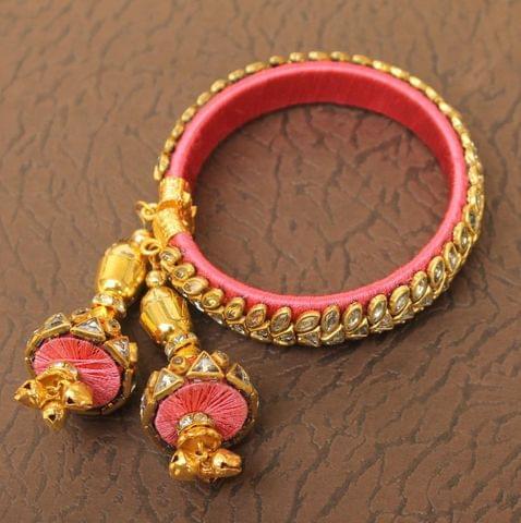 Designer Kundan Silk thread Adjustable Bracelet With Latkan Pink