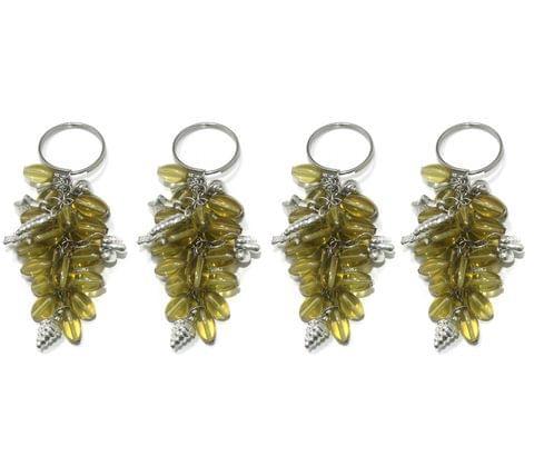 4 Pcs. Glass Beads Key Chains Yellow