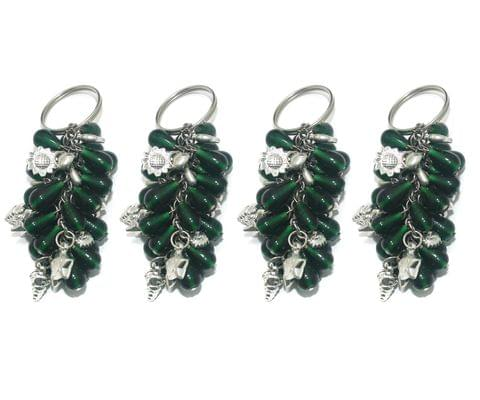 4 Pcs. Glass Beads Key Chains Dark Green