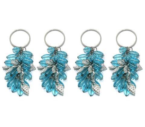 4 Pcs. Glass Beads Key Chains Turquoise