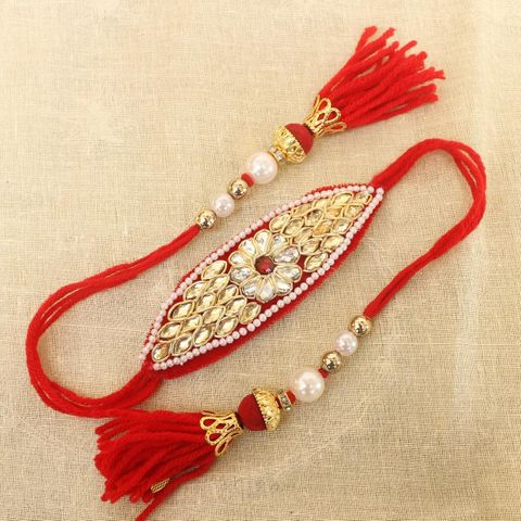 Thread Kundan Beaded Bajuband Red