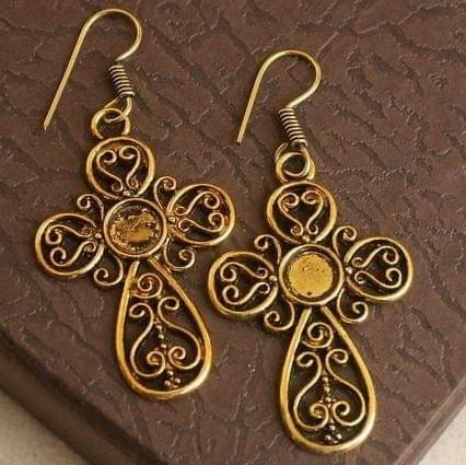German Silver Cross Earring Gold