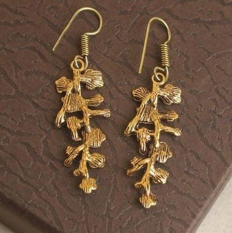 German Silver Leaf Earring Gold