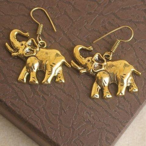 German Silver Elephant Earring Gold