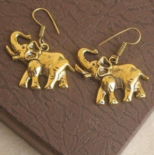 German Silver Elephant Earring Gold