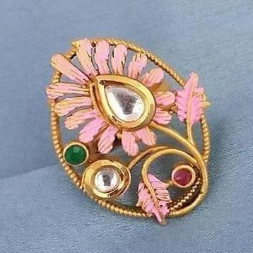Traditional AD Kundan Adjustable Copper Ring