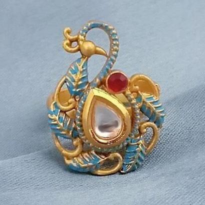 Traditional AD Kundan Adjustable Copper Ring