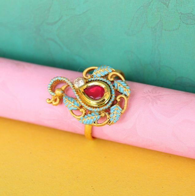 Peacock Adjustable Ring