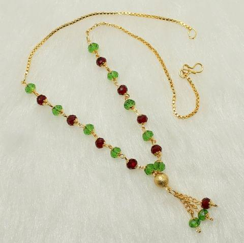 Crystal Faceted Beaded Mala Red and Green