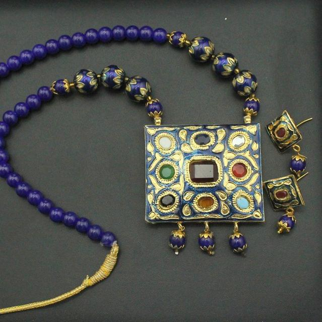 Blue Navratan Necklace Set