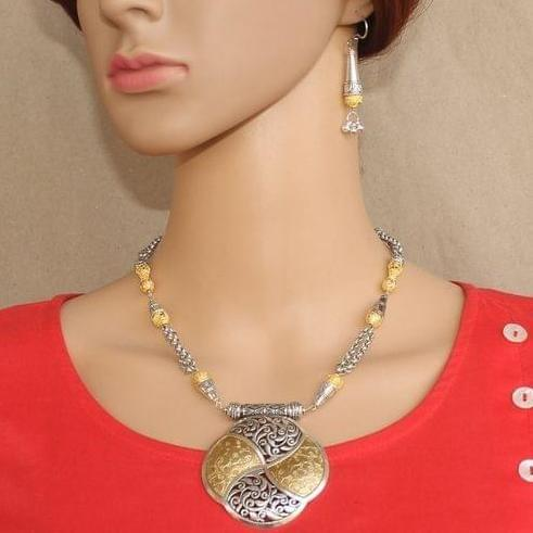 Double Tone German Silver Stone Necklace with Earring