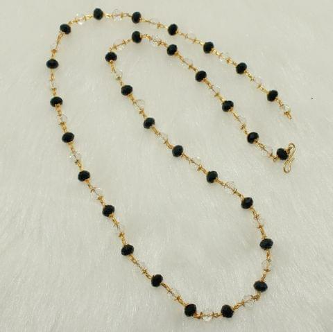 Crystal Faceted Beaded Mala Black And White