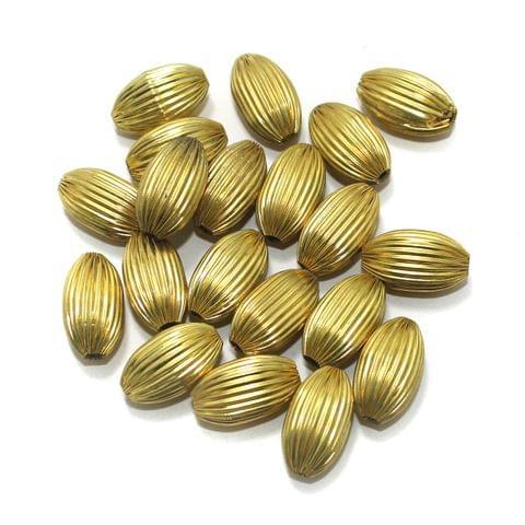 50 Liner Oval Beads Golden 20x12mm