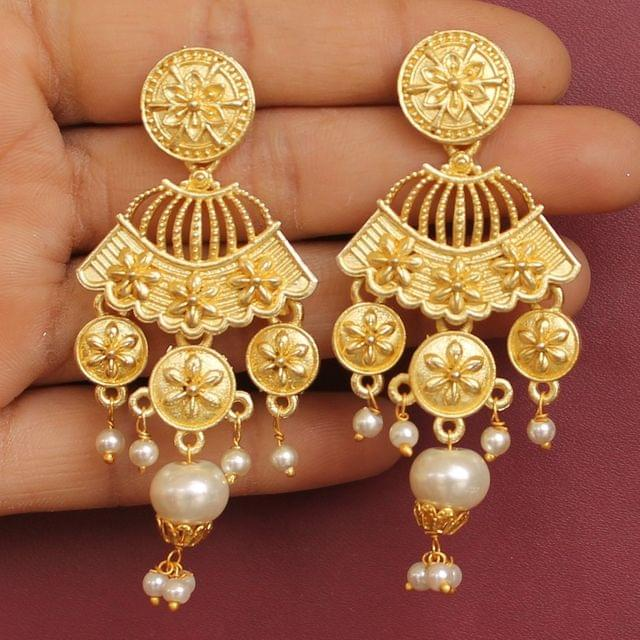 Matte Finish Stone Ethnic Dangler Earrings