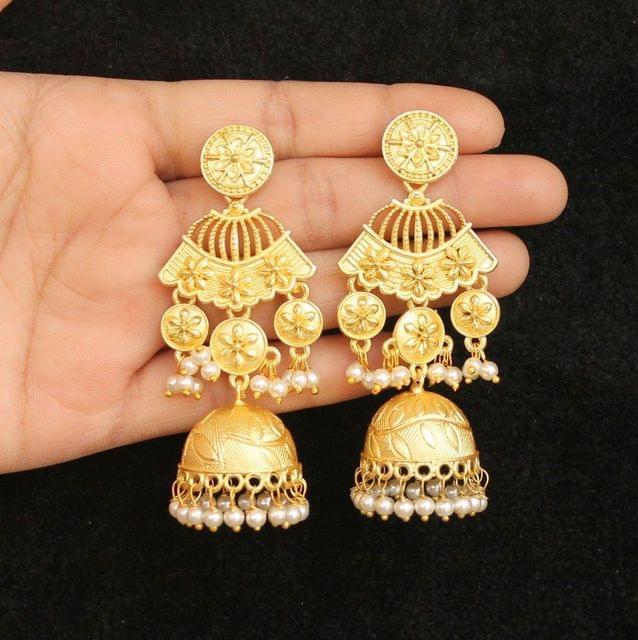 Matte Finish Stone Ethnic Jhumka Earrings