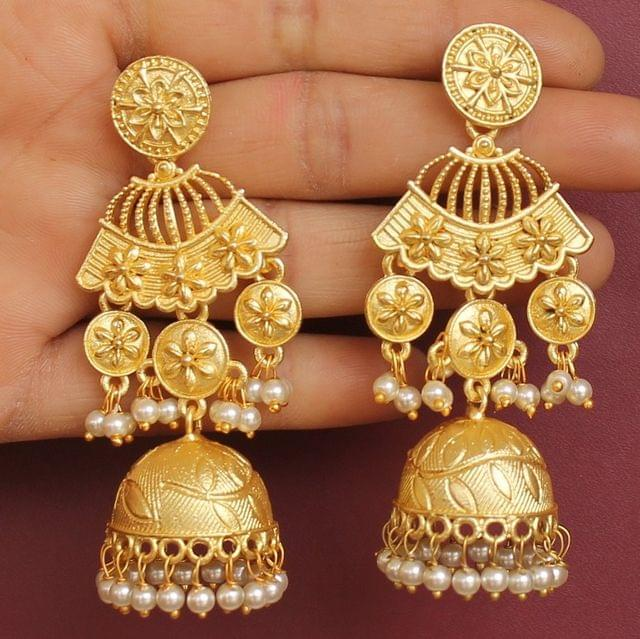 Matte Finish Stone Ethnic Jhumka Earrings
