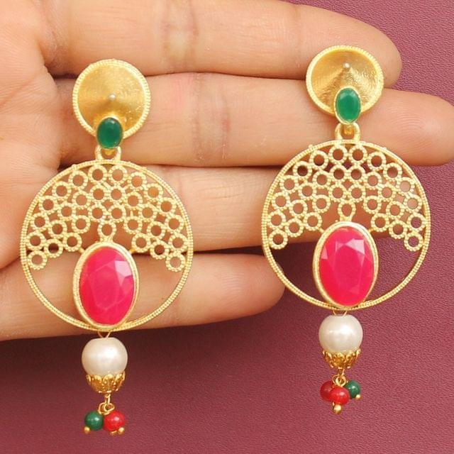 Matte Finish Stone Ethnic Jhumka Earrings Red And Green