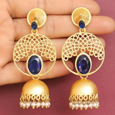 Matte Finish Stone Ethnic Jhumka Earrings Blue