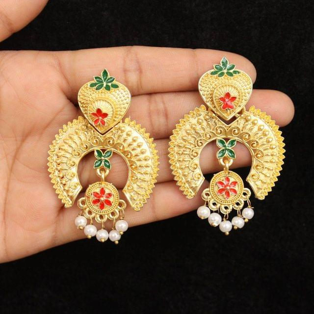 Matte Finish Meenakari Ethnic Designer Chandbali Earrings