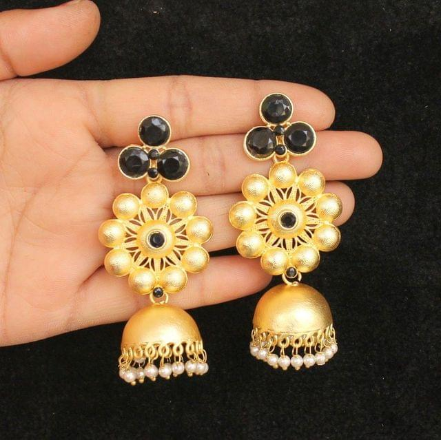 Matte Finish Stone Ethnic Jhumka Earrings Black