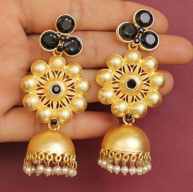 Matte Finish Stone Ethnic Jhumka Earrings Black