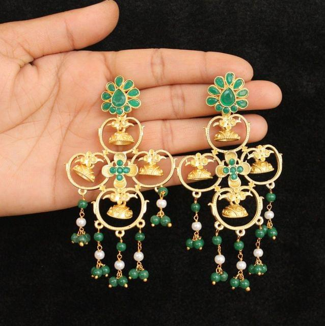 Matte Finish Stone Ethnic Earrings Green