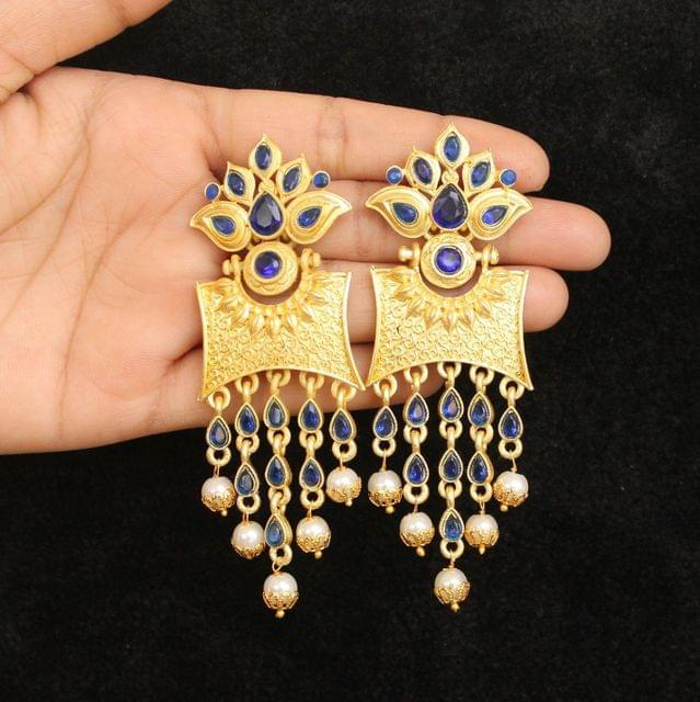 Matte Finish Stone Ethnic Earrings Blue