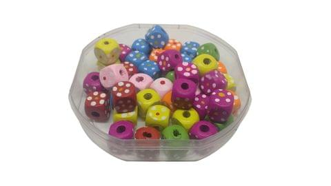 Aumni Crafts Wooden Beads Dot Printed 10x10x10mm Cube Assorted Color Mix (Pack of 100 grams, 190 beads)