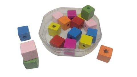 Aumni Crafts Wooden Beads 13x13x13mm Cube Assorted Color Mix (Pack of 100 grams, 64 beads)