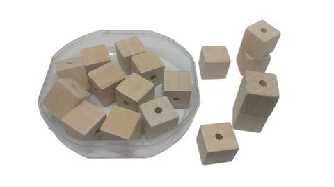 Aumni Crafts Wooden Beads 15x15x15mm Cube Block Wood Color (Pack of 100 grams, 43 beads)