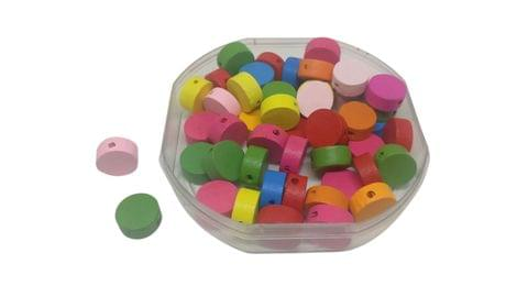 Aumni Crafts Wooden Beads 13x5mm Flat Round Assorted Color Mix (Pack of 60 grams, 150 beads)