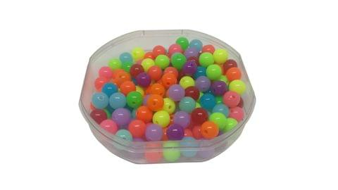 Aumni Crafts Plastic Beads Fluoroscent Type Neon 8mm Round Assorted Color Mix (Pack of 100 grams, 335 beads)