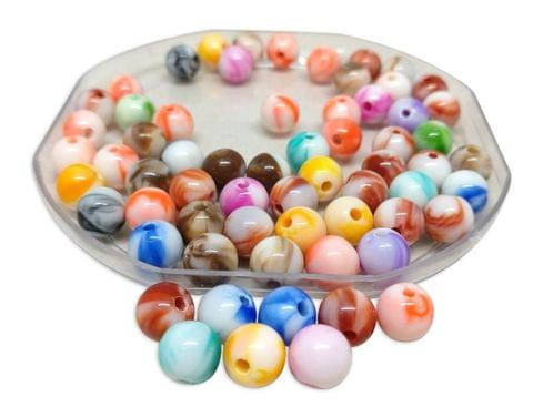 Aumni Crafts Plastic Beads Painted 12mm Round Assorted Color Mix (Pack of 100 grams, 100 beads)