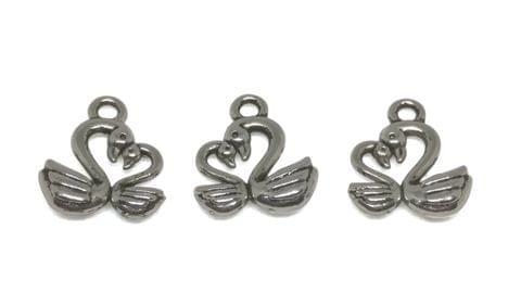 Aumni Crafts Jewelry Mini Pendant Alloy Craft Charms 15x13x3mm Bird Swan Antique Silver Color (Pack of 20 pieces)