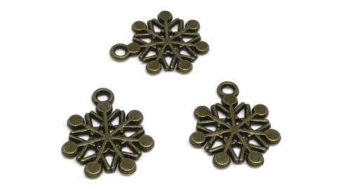 Aumni Crafts Jewelry Mini Pendant Alloy Craft Charms 20x17mm Snowflake Antique Bronze Color (Pack of 20 pieces)