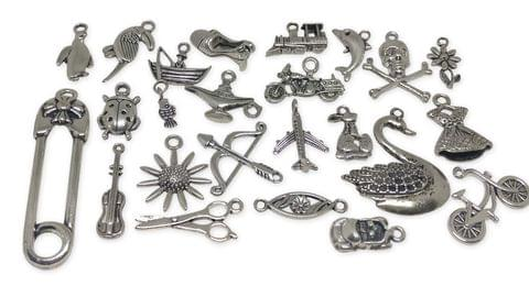 Aumni Crafts Jewelry Mini Pendant Alloy Craft Charms Mixed Size Mix of 25 Shapes Antique Silver Color (Pack of 25 pieces)
