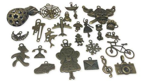 Aumni Crafts Jewelry Mini Pendant Alloy Vintae Craft Charms Mixed Size Mix of 25 Shapes Antique Bronze Color (Pack of 25 pieces)