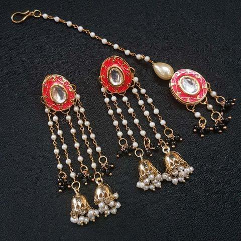 Red Meenakari Pearl Beading Jhumki Earrings With Maang Tikka For Girls / Women