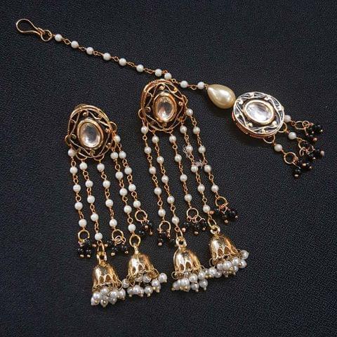 Black Meenakari Pearl Beading Jhumki Earrings With Maang Tikka For Girls / Women