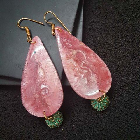 Pink Drop Style Shell Earrings With Antique Beads For Girls / Women